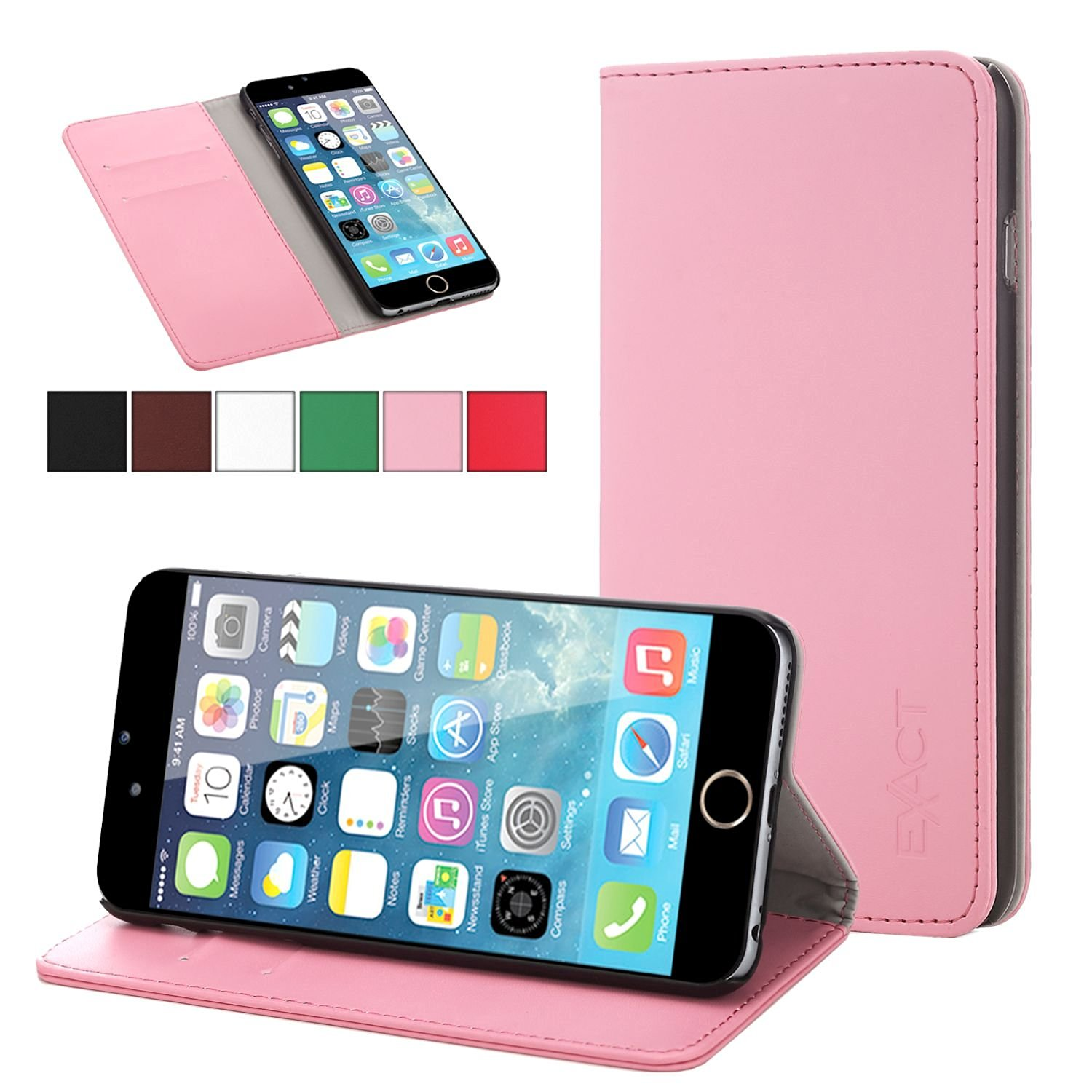 iPhone 6 Plus Case - Exact Apple iPhone 6 Plus 5.5 Case [BillFOLD Series] - PU Leather Wallet Flip Cover Case for Apple iPhone 6 Plus (5.5-inch)Pink