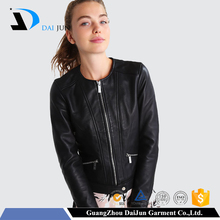 Daijun high quality fashion slim fit motorcycle sheep skin custom plain black genuine leather jacket women
