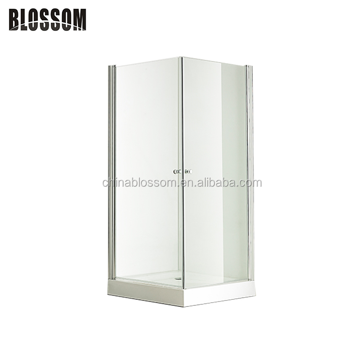 Frameless square glass hinge 2 sided swing doors shower enclosure