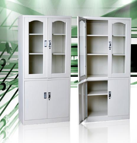 4 Door White Book Storage Steel Office Cabinet/glass Door Lockable ...
