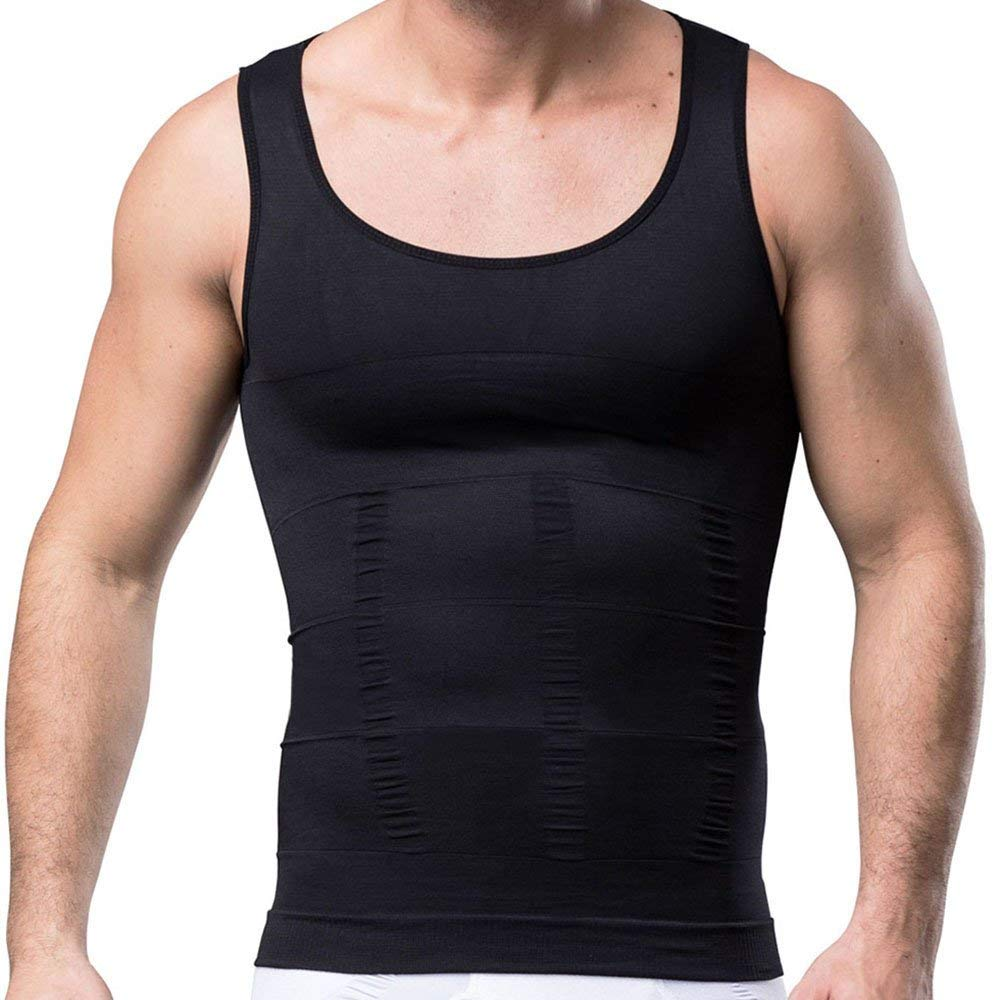 4e2a3a485affc Get Quotations · K.S Mens Body Shaper Undergarment Compression Shirt  Elastic Vest Slimming Undershirt Slim Shapewear