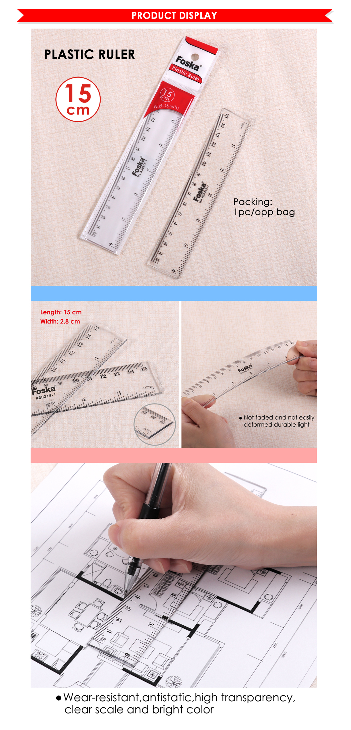 Foska Hot Sale 15X2.8CM Fashion Design Plastic Ruler