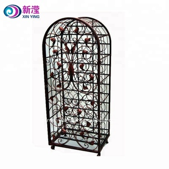 Factory Wholesale Handicrafts Vintage Wrought Iron Large Wine Racks