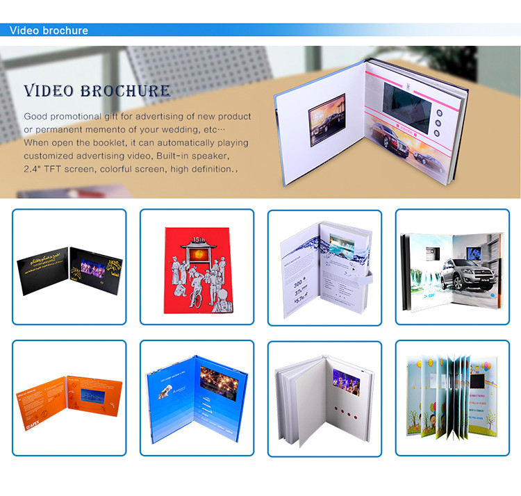 LCD Video Card module inserted into greeting card and brochure
