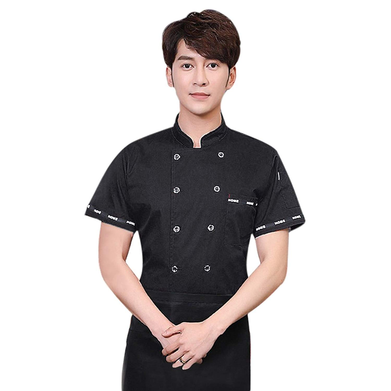 Jiyaru Chef Coat Jacket for Men Women Short Sleeve Unisex Kitchen Uniform