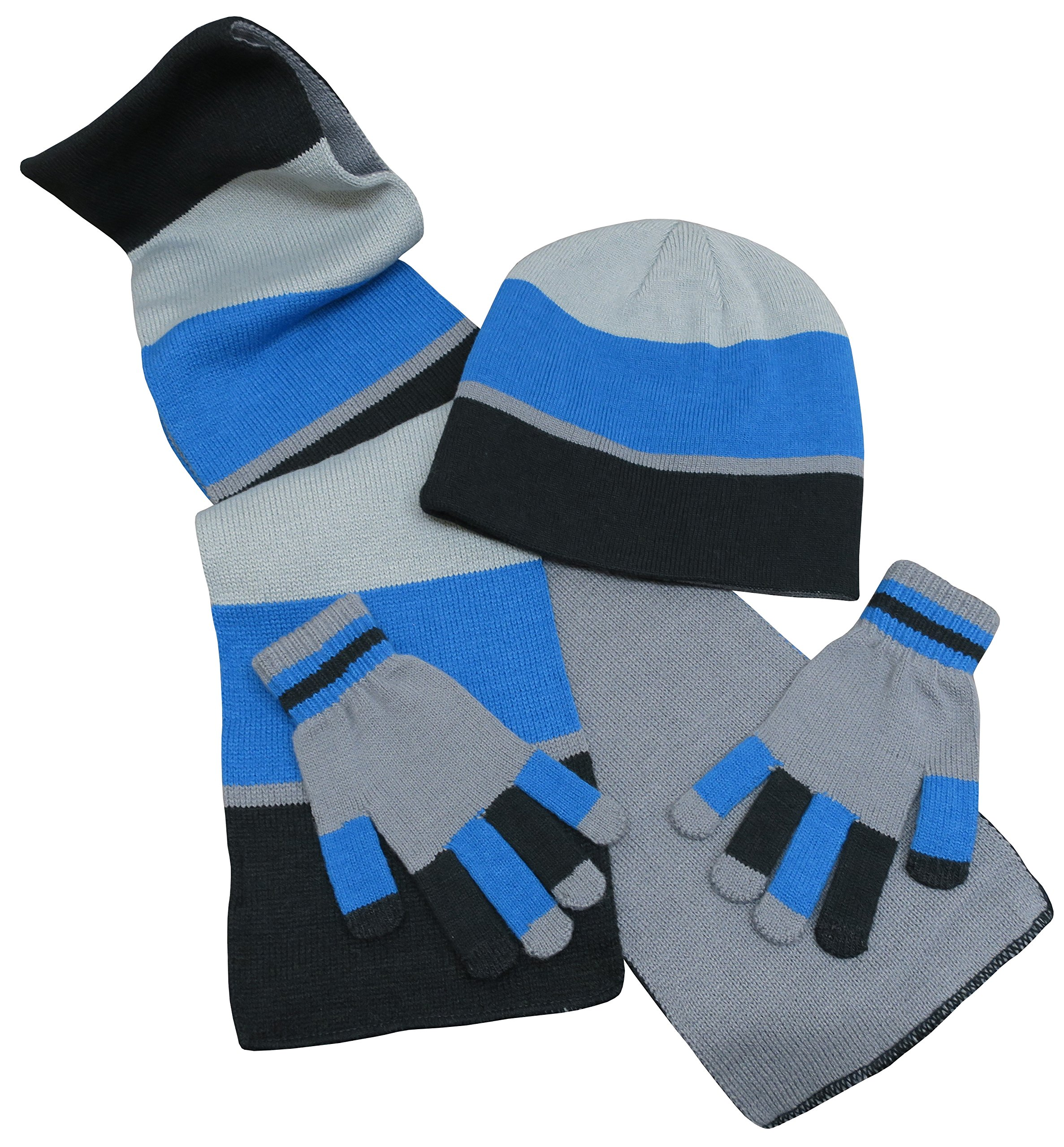 c35d549b4b532 Get Quotations · N Ice Caps Kids Reversible Knitted Hat Scarf Magic Stretch  Glove Accessory Set