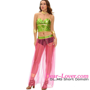 Dear-lover Green Pink 6pcs Slave Princess Costume