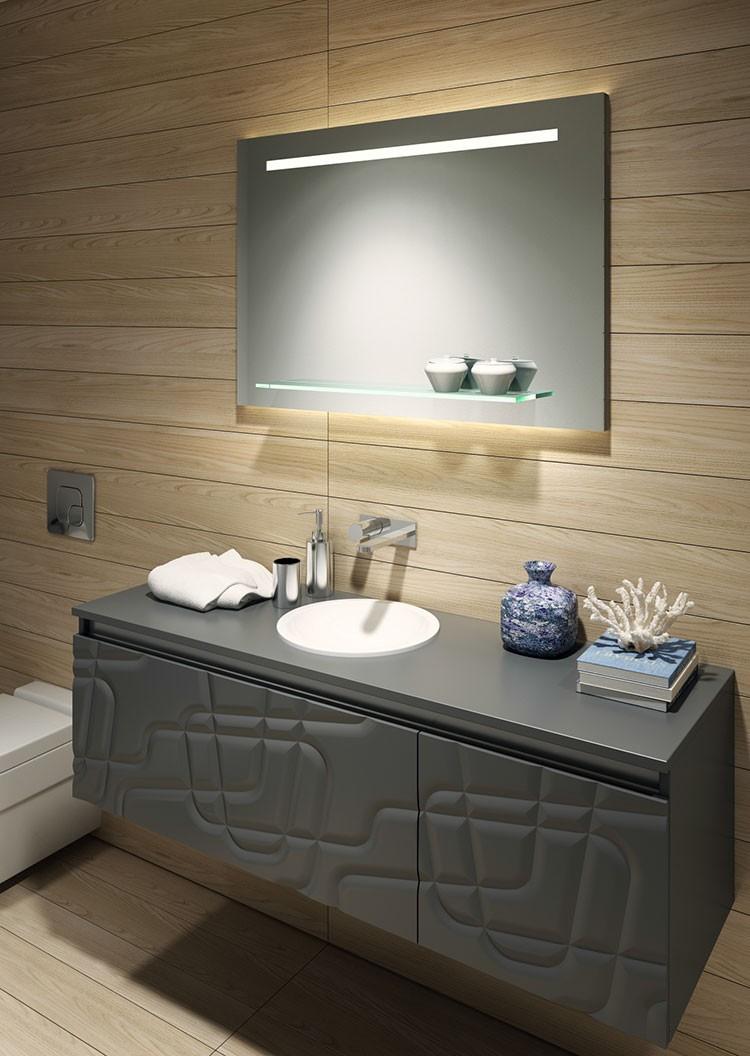 Illuminated Led Bathroom Mirror With Glass Shelf Gm6212