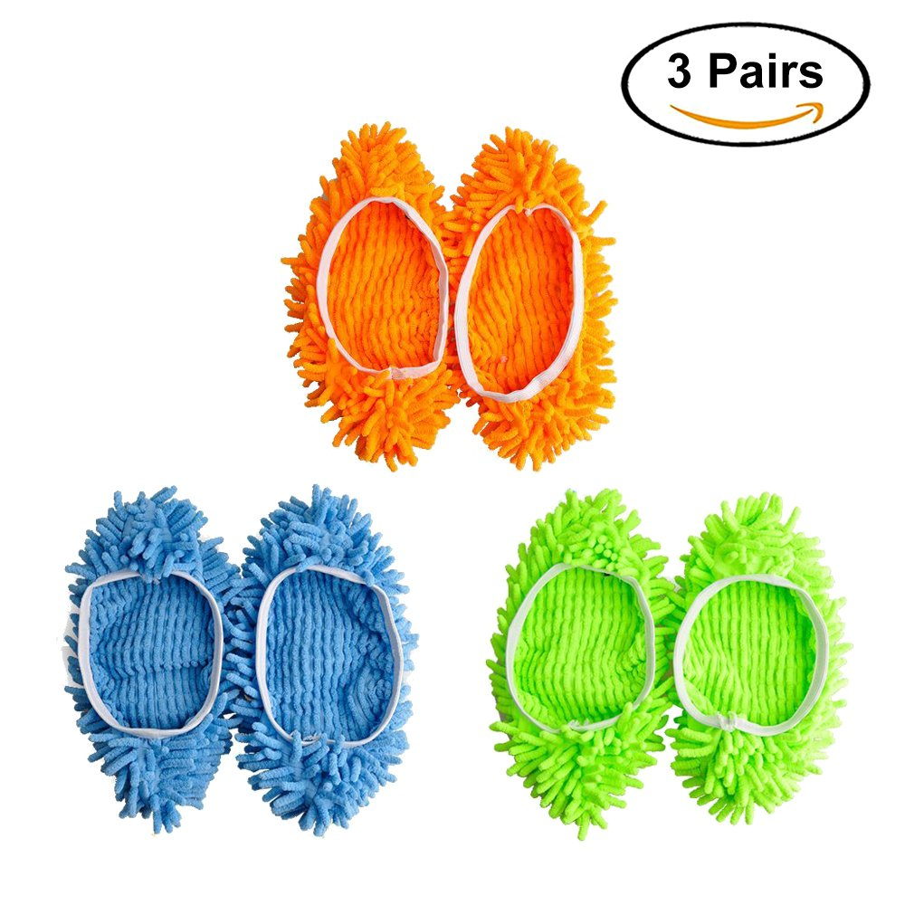 Buy 3Pairs Dust Mop Slippers Microfiber Cleaning Shoes Cover