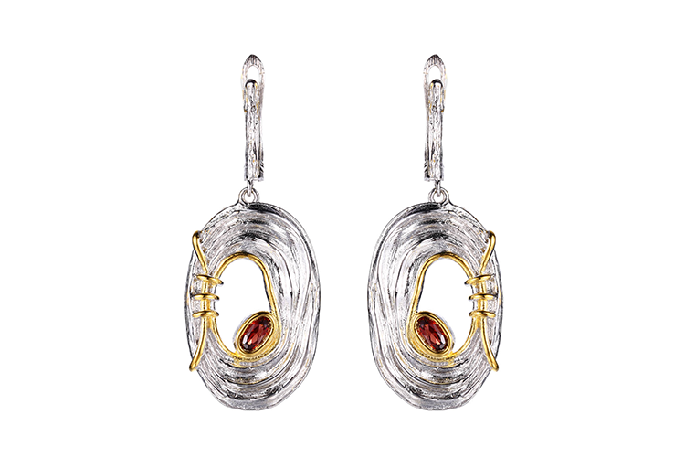 Quality Supplier Provide Fashion Natural Red Zircon Oval Jewelry Set For Lady