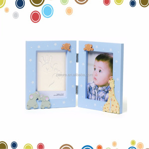 Blue frame white clay Wholesale Baby Double Opening digital photo frame