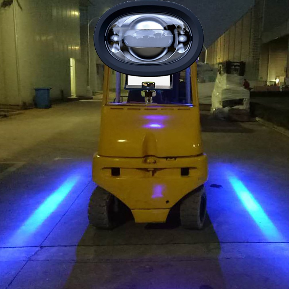 FG LED Straight line Forklift Area Safety Light 8W Cree Blue/Red LED Work light Blue Zona Risk Danger Area Warning Light Warehouse Fork Forklift Truck Security Indicator Safety Light (Blue)