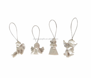 Polyresin white color christmas angel hanging ornaments for tree hanging decoration