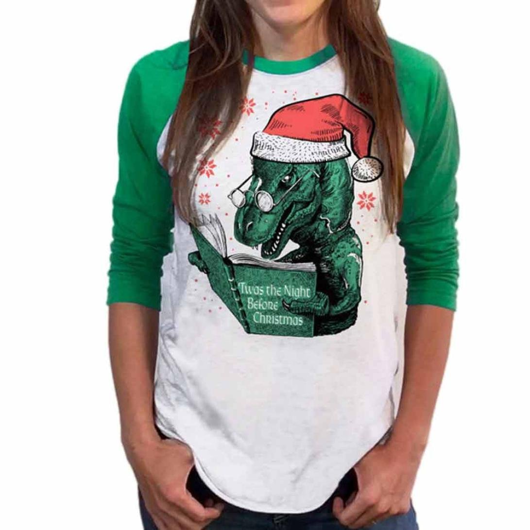 Junshion Womens Christmas Dinosaur Print Patchwork Long Sleeve Sweatshirt Tops Blouse