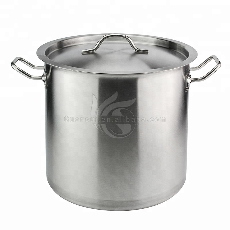 ホテルのレストランのキッチン職業背ストレート型非磁性銀調理スープポットステンレス鋼の在庫鍋