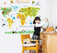 Newest colorful cartoon animals world map home decal wall sticker for kids room DIY children's decorative wall sticker