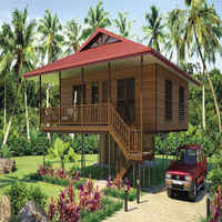 prefab light gauge steel wooden design bungalow house Beach resort water proof, termite proof, cyclone proof