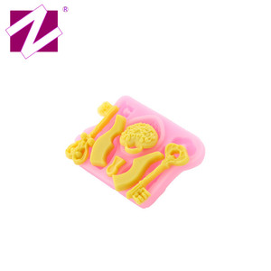 Hot Sale New Custom 6 Pattern Key Comb Shape Silicon Soap Molds, Reusable Fondant Mold for Soap