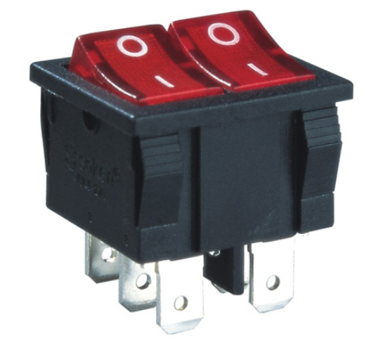 6a 250v T100 On Off On Stdp Rocker Switch With Lamp
