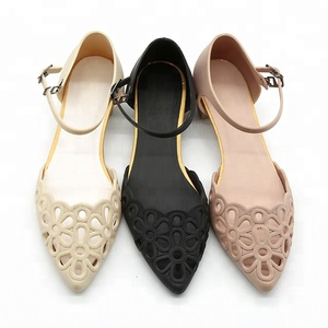 Flower Hollow Out Wedding High Heel Edge PVC Jelly Sandals Women and Girls