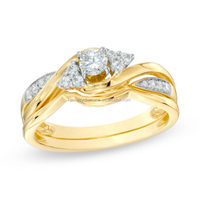 Best Selling 1/3 CT 10K Yellow Gold Diamond emerald engagement rings fine jewelry stores company