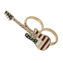 China factory direct sale metal rhinestone guitar usa flag Multi-finger ring,men's ring