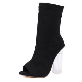 Cheelon Shoe Peep Toe Clear Block Heel Black Suede Ankle Boots Women Booties Beautiful Buy Black Suede Ankle Boots Women Booties,Black Suede Ankle