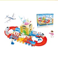 Electric slot toy train tracks set with flashing light for kids