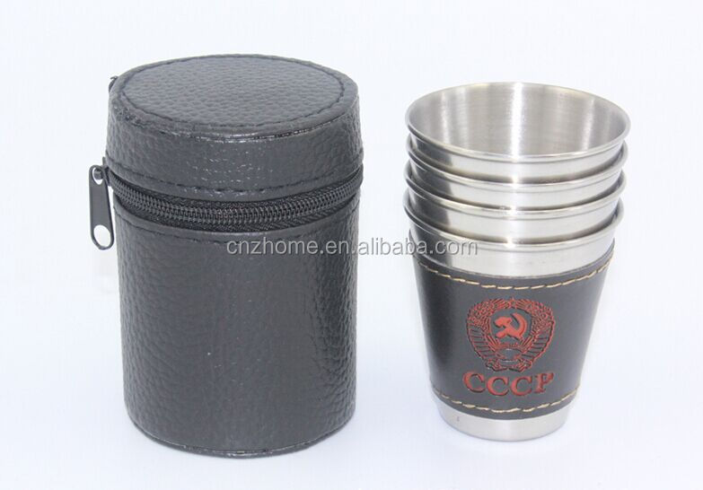 Savage 18/8 Stainless Steel Shot Glasses with Black Leather Case,1oz set of 4 pcs