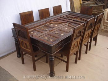 Indian Wooden Hand Painted Beautiful Dining Table Set