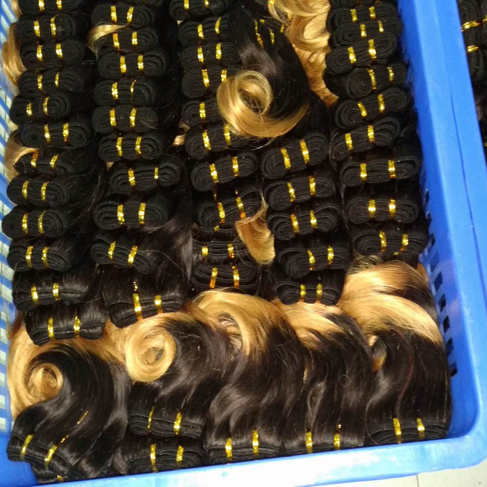 Preorder Now Wholesale Weaves 1b/27 Ombre Color Peruvian remy Human Hair 30pcs/lot Body Wave 900grams Free Shipping