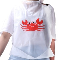 PE Material One Time Use Party Supply Crab Bibs Comfortable Adult Disposable Bibs
