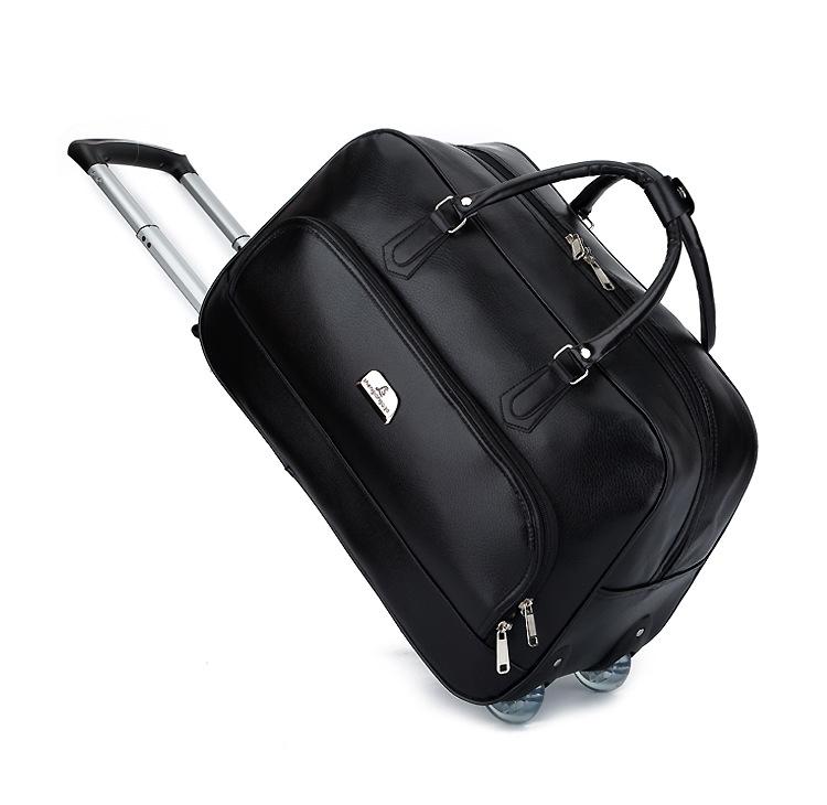 Luxury Leather Trolley Travel Bag Weekend Duffel Bag Travel Trolley Tote Mens Leather Luggage Bag