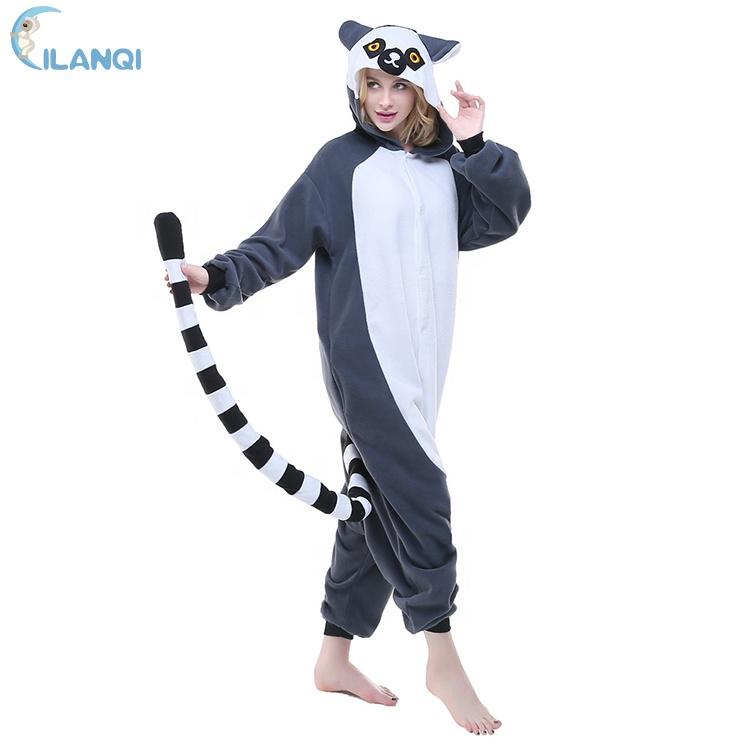 003a96220c58 Adult Onesie Pajamas Lemur Animal Halloween Cosplay Costume - Buy ...
