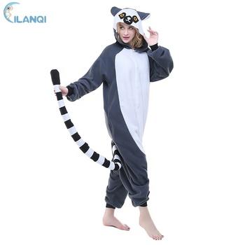 db165304b0 Adult Onesie Pajamas Lemur Animal Halloween Cosplay Costume - Buy ...