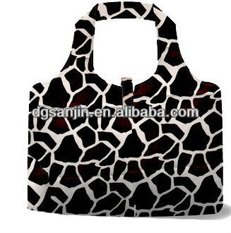 foldable zebra print shopping bag