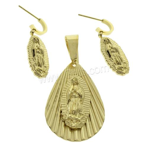 Christian Jewelry Sets Stainless Steel Saint Jewelry pendant & earring Teardrop gold color plated