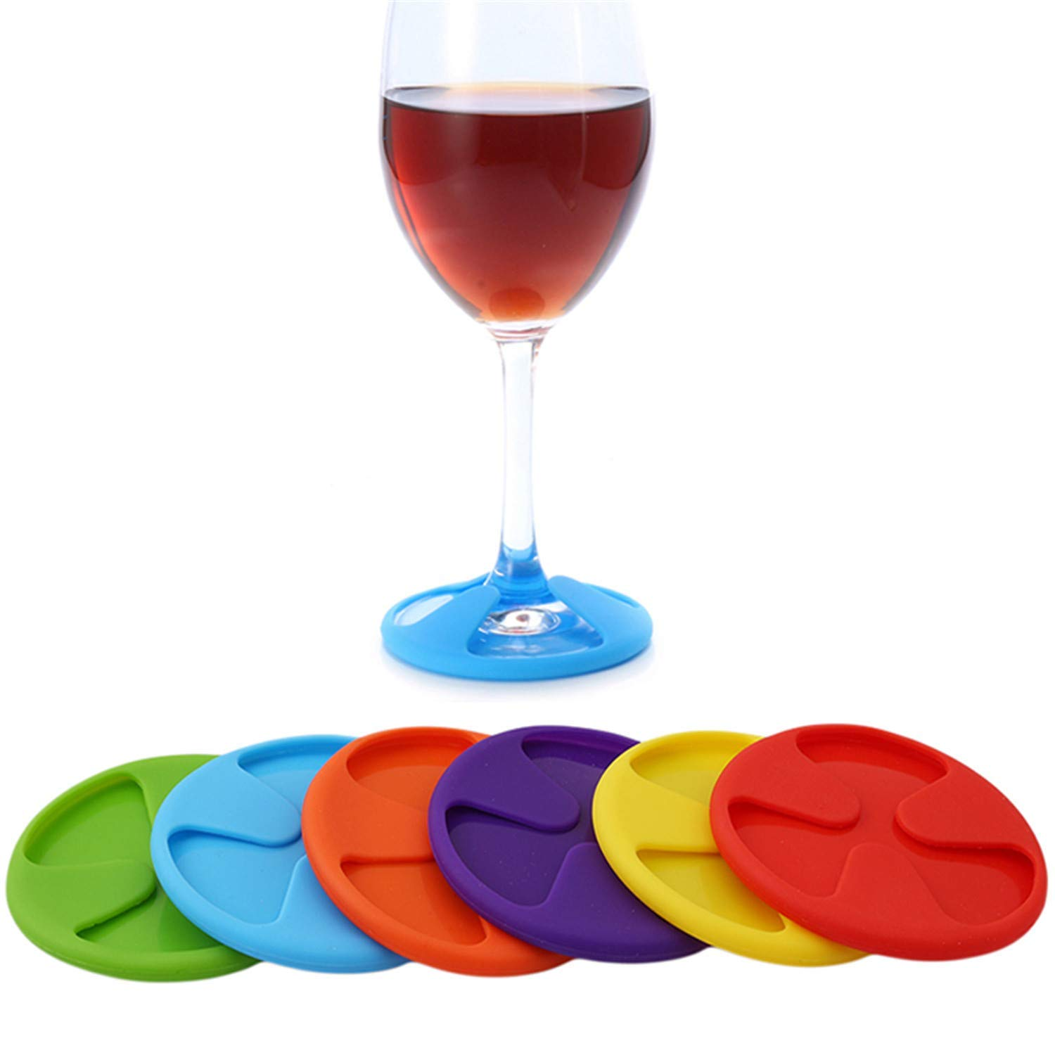6Pcs/Set Silicone Wine Glass Cup Charm Mat 3 In 1 Wine Glass Charms Stemware Coaster Cup Covers Drinks Marker Table Decoration