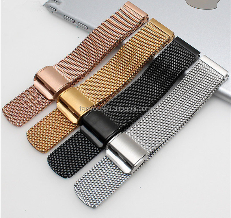 07 Line 18 20 21 22 24MM Metal Milanese Mesh Stainless Steel Rose Gold Watch Strap With Quick Release Spring Bar Buckle