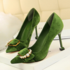 c11169a latest design fashion lady suede high heel jobs dress shoe