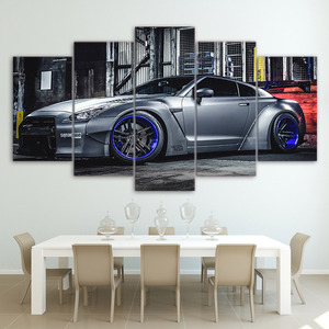 Modular Pictures Living Room Wall Art Canvas Sports Car Poster Decor 5 Pieces NISSAN GTR R35 5 Painting HD Printed Photo Framed