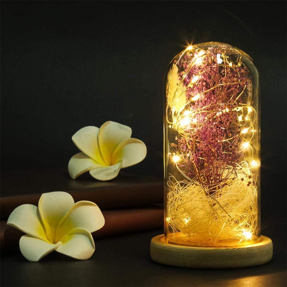 Rumas Romantic Gypsophila LED Night Light + Glass Cover - Glass Dome Fairy Light Beside Table Lamp - Bedroom Decoration Lamp - LED Nightlight Light Girls Room Decor (Purple)
