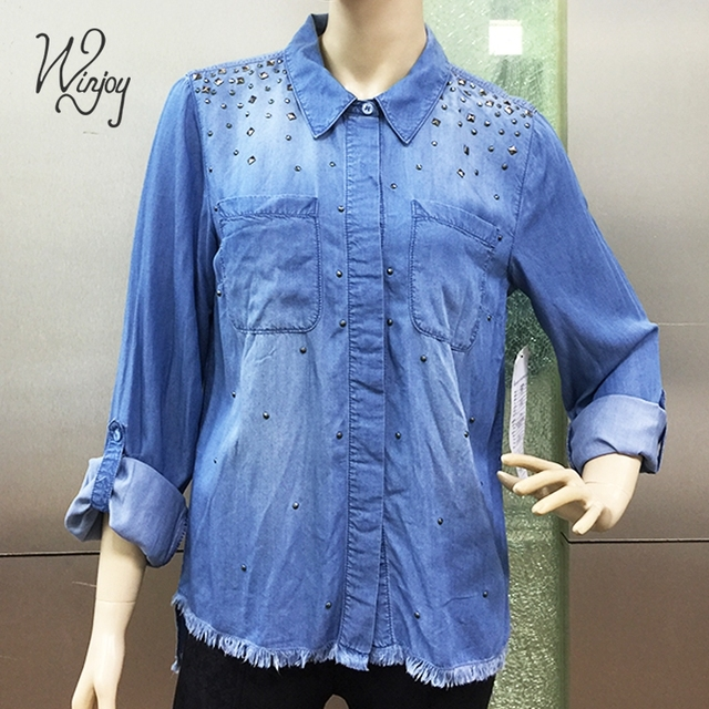 4608f745 Rivet tassels long sleeve comfortable female ladies casual pictures for  blouses denim shirt women