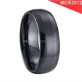 Brushed Domed Black Zirconium Oxide Ceramic RingsScratch Proof