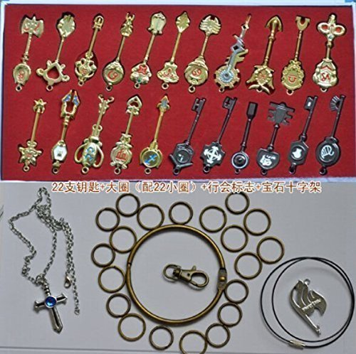econoLED Rulercosplay Fairy Tail Lucy Set of 25 Golden Zodiac Keys + Chain Play Key cChain