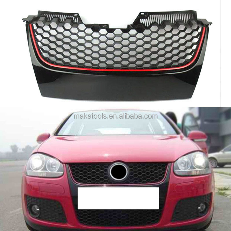 For Volkswagen Golf 5 GTI 2005-2008 Lower Grille Red+Black ABS Chrome Honeycomb