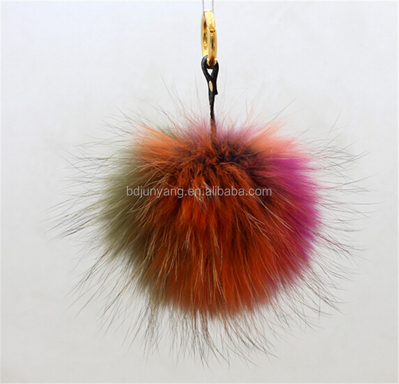 raccoon fur ball/raccoon fur ball pompom/raccoon fur accessary fox fur tail keychain