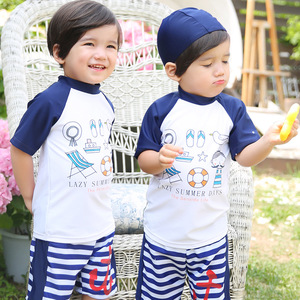BOM5034 2017 New swimwear boys short-sleeve cartoon Children swimsuit kids Swimming suit Beach Swimwear