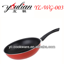 Popular red color black handle save energy industrial wok with steamer