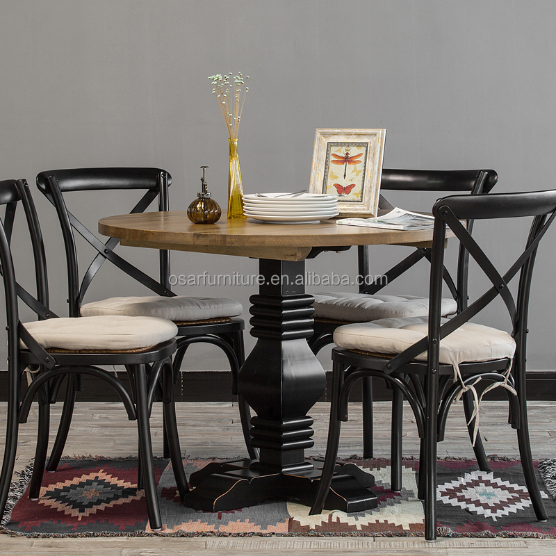 French Rustic Style Wooden Round Bistro Dining Table Set